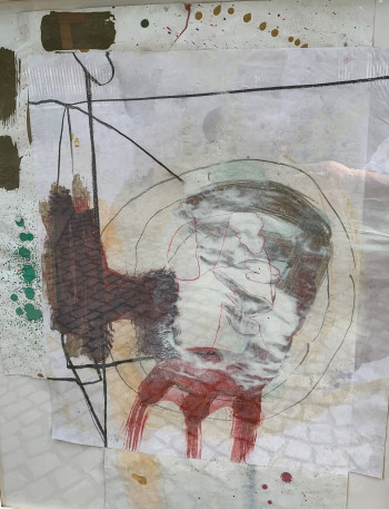 Nr. 24 o.T. 2021 Graphitstift, Collage a. Pap. 63,4 x 52,4 cm