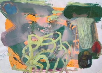 Nr. 19 o.T. 2019 Öl a. Siebdruck a. Karton 31 x 43,5 cm