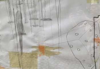 Nr. 34 o.T. 2015 Graphitstift, Klebeband a Karton 44 x 53 cm