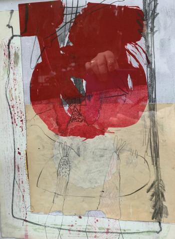 Nr. 40 Rot nicht Rosa 2020 Öl a Radierung, Collage a Pap. 33,5 x 26 cm