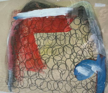 Nr. 33 Entfesselte Facetten 2020 Graphitstift, Öl, Acryl a Tapete 46,3 x 54 cm