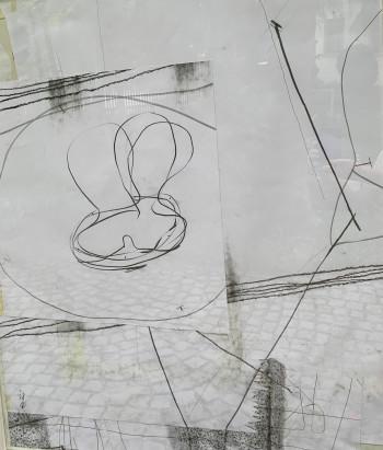 Nr. 27 Vorwärts, ich will vergessen 2015 Graphitstift, Collage a. Pap. 96,3 x 82 cm