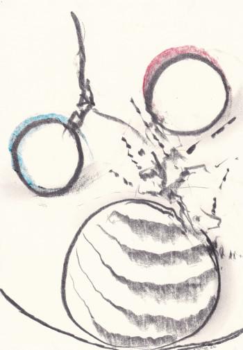 Nr. 6  Inbilder Nr. 4  18.5.2020 Grafit u. Buntstift a. Papier 29,7 x 21 cm
