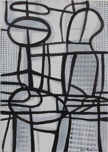 Nr. 21 Quanträume II 2019 Acryl a. Pap.  30 x21 cm