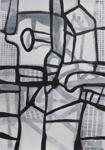 Nr. 22 Quanträume VI 2019 Acryl a. Pap.  30 x21 cm