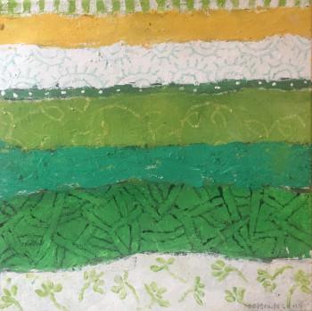 Nr. 7 Ein Grün gibt das andere Mischtechnik 40 x 40 cm