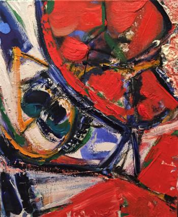 Nr. 18 Flirrende Welt 2006, 2020 übermalt Öl a. Lw. 60 x 50 cm