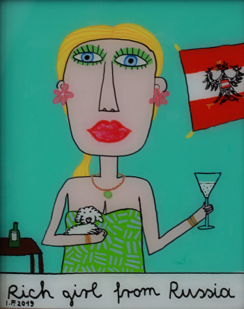 Nr. 37 Rich girl from Russia 2019 Hinterglasmalerei  28,5 x 22,5 cm