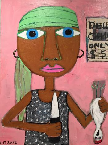 Nr. 16  Frau mit Huhn 2016 Acryl u. Ölkreide a. Holz  40 x 30 cm