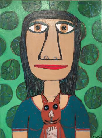 Nr. 41 Frau mit Hörnchen 2020 Acryl u. Ölkreide a. Holz 40 x 30 cm