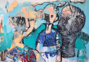 Nr. 8 Zwei Freunde mit Skulptur 2021 147 x 207 cm