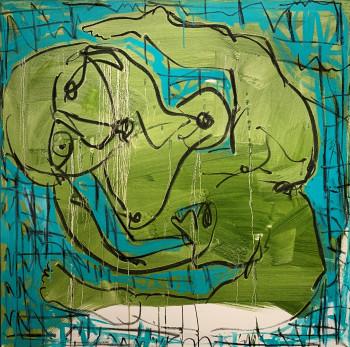 Nr. 9 al bagno 2021 Acryl und Kreide a. Lw. 114 x 114 cm