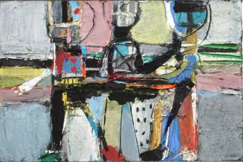 Nr. 41 Drei in Landschaft 2019 Öl-Collage a. Lw. 60 x 90 cm