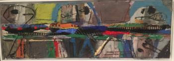Nr. 2 Breite Bunte Gruppe 2018 Öl und Collage a. Lw.  30 x 90 cm