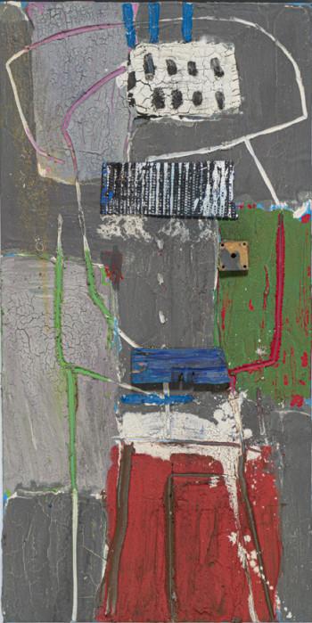 Nr. 39 Figur 1 2019 Öl-Assemblage a. Lw. 110 x 40 cm