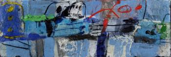 Nr. 18 Breite blaue Gruppe 2015 Öl u. Collage a. Lw. 40 x 120 cm
