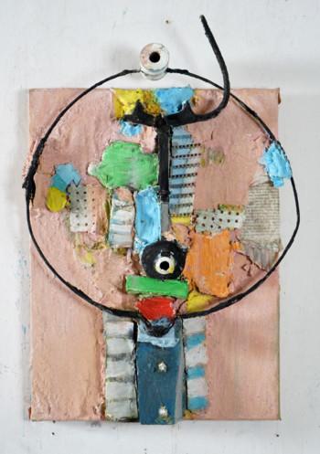 Nr. 49 Rosa Vogel 2021 Materialbild 55 x 40 x 10 cm