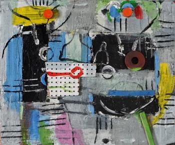 Nr. 44 Frühstück II 2020 Öl u. Collage a. Lw. 50 x 60 cm