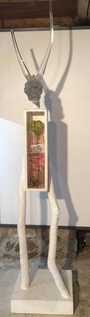 Nr. 3  Hyperboreer II Glas, Holz, Leinen, Kunstharz H 245 cm