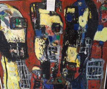 Nr. 5  zu dritt 1998   Öl Nessel 85 x 100 cm